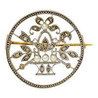 Edwardian Diamond Pearl Platinum-Topped 18 Karat Gold French Giardinetto Brooch