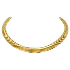 1980's Vintage 14 Karat Gold Tubogas Collar Necklace