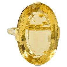1940's Retro Citrine 14 Karat Gold Gemstone Statement Ring