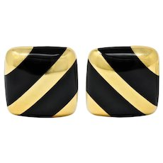 Vintage Onyx 18 Karat Gold Striped Cushion Earrings Contemporary