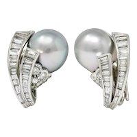 Petochi Vintage 3.25 CTW Diamond Cultured Pearl Platinum Ear-Clip Earrings