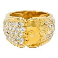 Carrera Y Carrera 1.50 CTW Pave Diamond 18 Karat Gold Promesa Band Ring