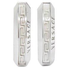 Versace Hardstone 18 Karat White Gold Greek Key Contemporary Hoop Earrings