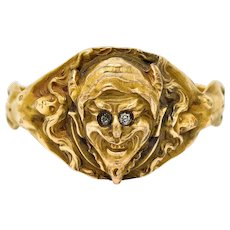 1890's Victorian Gold Full-Bodied Figure Devil Band Ring