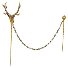Victorian Diamond 14 Karat Gold Elk Double Stickpin Circa 1900