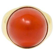 1960's Vintage Coral Cabochon 18 Karat Gold Statement Ring