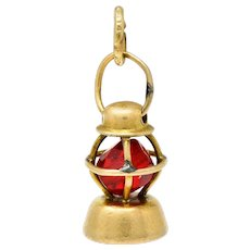 Art Deco 14 Karat Gold Nautical Lantern Charm