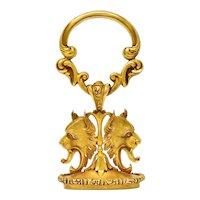 Large Carter & Gough Art Nouveau 14 Karat Gold Lion Fob Charm Pendant