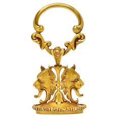 Large Carter & Gough Art Nouveau 14 Karat Gold Lion Fob Charm Pendant
