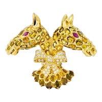 Tiffany & Co. Ruby Sapphire Diamond 18 Karat Gold Double Giraffe Brooch