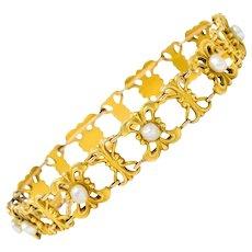 Bippart & Co. Art Nouveau Pearl 14 Karat Gold Whiplash Link Bracelet