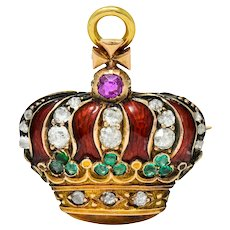 Victorian Enamel Diamond Emerald Ruby 18 Karat Gold Imperial Crown Pendant Watch Pin