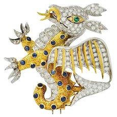 1960's Vintage Diamond Emerald Sapphire Platinum 18 Karat Gold Serpent Dragon Brooch