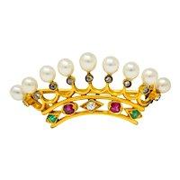 Bailey Banks & Biddle Ruby Emerald Pearl Diamond 18 Karat Gold Crown Brooch