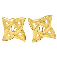 1989 Angela Cummings 18 Karat Gold Quatrefoil Knot Earrings