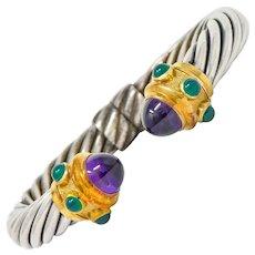 David Yurman Amethyst Chrysoprase Sterling Silver 14 Karat Gold Renaissance Cuff Bracelet