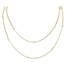 Victorian Pearl 14 Karat Gold 47 Inch Long Chain Station Necklace