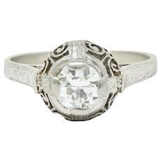 Art Deco 0.52 Carat Diamond Platinum Scrolled Foliate Engagement Ring