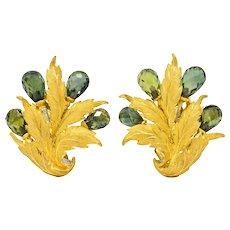 Buccellati Green Sapphire Briolette 18 Karat Two-Tone Gold Leaf Ear-Clip Earrings