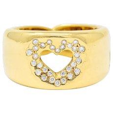 Tiffany & Co. Vintage Diamond 18 Karat Gold Open Heart Band Ring