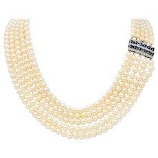 1960's Pearl Sapphire 18 Karat White Gold Five Strand Necklace