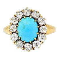 Victorian 1.80 CTW Diamond Turquoise Cabochon 18 Karat Gold Cluster Ring