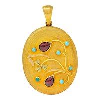 Large Victorian Garnet Turquoise 18 Karat Tri-Colored Gold Floral Locket Pendant