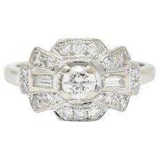 1950's Mid-Century Diamond 14 Karat White Gold Dinner Ring
