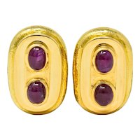 David Webb Vintage Ruby Cabochon 18 Karat Gold Ear-Clip Earrings Circa 1980
