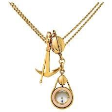 Tiffany & Co. Antique 18 Karat Gold Nautical Watch Chain Anchor Compass Pendant Necklace