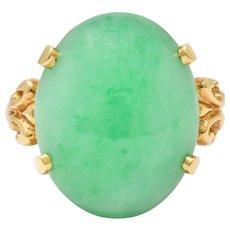 Jade 14 Karat Yellow Gold Cabochon Ring Circa 1950's