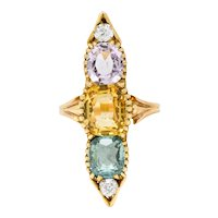 Victorian 7.30 CTW Topaz Tourmaline Diamond 14 Karat Gold Five Stone Dinner Ring