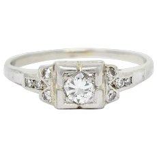 Early Retro 0.35 CTW Diamond Platinum Square Form Engagement Ring