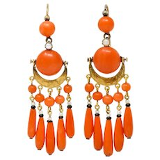 Victorian Etruscan Revival Coral Pearl Onyx 18 Karat Gold Chandelier Earrings