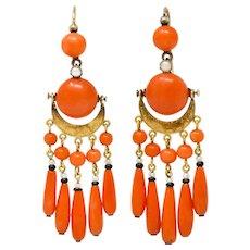 Victorian Etruscan Revival Coral Pearl Onyx 18 Karat Gold Chandelier Earrings