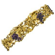Arts & Crafts Amethyst 14 Karat Gold Grape Cluster Vine Bangle Bracelet