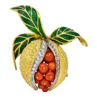 1960's Vintage Diamond Coral Enamel 18 Karat Gold Pomegranate Brooch