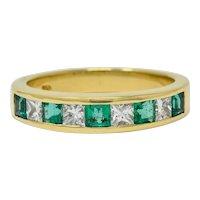 Tiffany & Co. 1.10 CTW Emerald Diamond 18 Karat Gold Channel Band Circa 1990