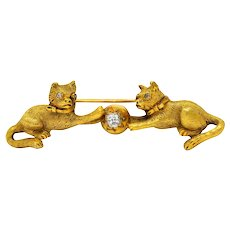 Victorian Diamond 18 Karat Yellow Gold Kitten Cat Bar Brooch