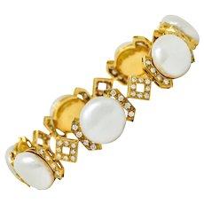 Vintage Diamond Keshi Pearl 18 Karat Gold Link Bracelet