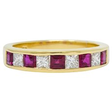 Tiffany & Co. 1.30 CTW Ruby Diamond 18 Karat Gold Channel Band Circa 1990