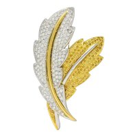 1990's Vintage 8.00 CTW White and Yellow Diamond Platinum 18 Karat Gold Double Feather Brooch