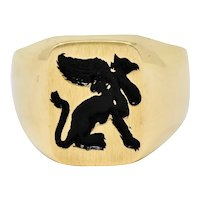 Victorian Tiffany and Co Enamel 14 Karat Gold Unisex Gryphon Signet Ring
