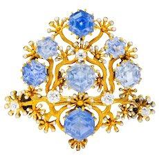 Tiffany & Co. Paulding Farnham 5.85 CTW Sapphire Diamond Enamel 18 Karat Gold Floral Brooch Circa 1900