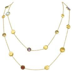Marco Bicego Multi-Gem 18 Karat Gold Long Chain Confetti Necklace