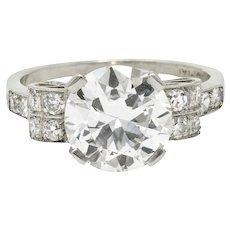 Art Deco 2.68 CTW Diamond Platinum Sunburst Engagement Ring GIA