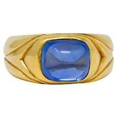 Antique Tiffany & Co. No Heat Kashmir Sapphire Cabochon 18 Karat Gold Unisex Band Ring AGL