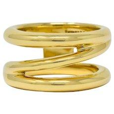 Tiffany & Co. Vintage 1990's 18 Karat Gold Zig Zag Band Ring