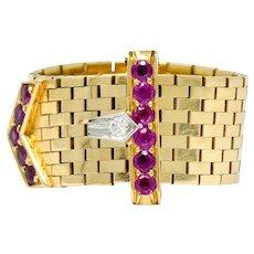 We-4982Bailey Banks & Biddle Retro 0.60 CTW Ruby Diamond 14 Karat Gold Buckle Ring