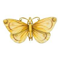 Large Antique Tiffany & Co. Victorian Enamel 18 Karat Gold Butterfly Brooch